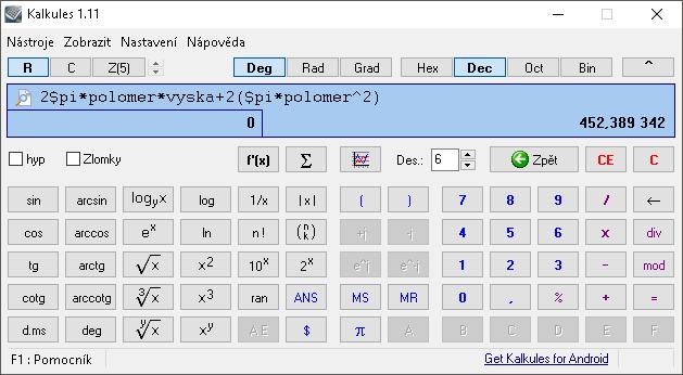 Kalkules - Hlavní okno programu