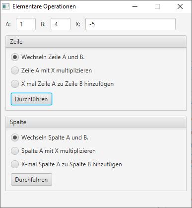 Elementare Zeilen- / Spaltenoperationen