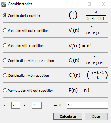 Kalkules combinatorics tool